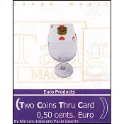 Two Coins Thru Card (50 cent Euro) by Tango