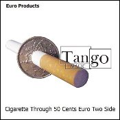 Cigarette Through 50 Cent Euro (Two Sided)
