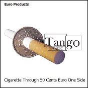 Cigarette Through 50 Cent Euro (One Sided)