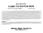 Instant Instruction Download - Card to Match Box